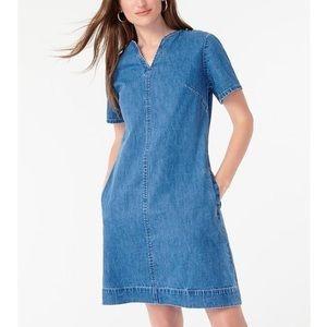 J.Crew NWT Denim Vneck Shift Dress Pockets Blue